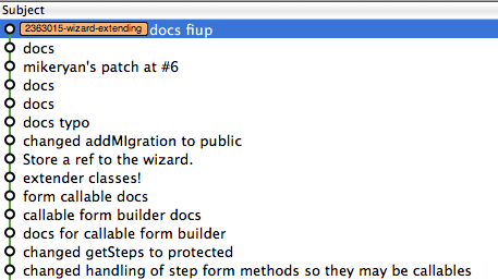A screenshot of a git GUI showing the tip of a local branch, with a commit for a patch from another user.